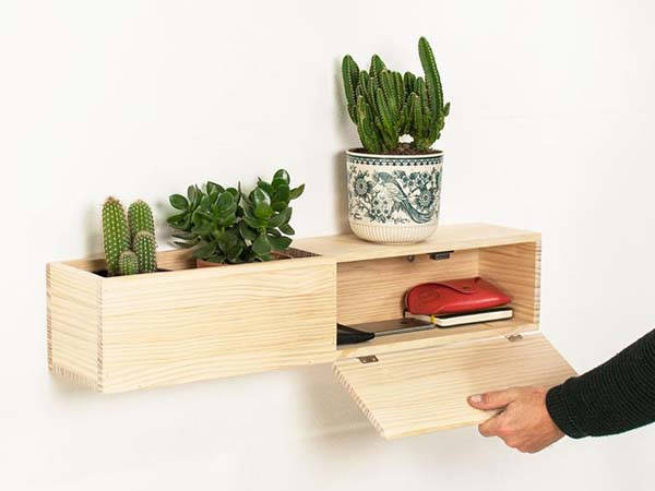 Handmade Modern Wall Floating Wooden Shelf with Drawer