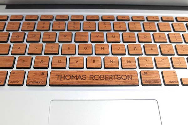 Handmade Personalized Wooden MacBook Keyboard Skin Set