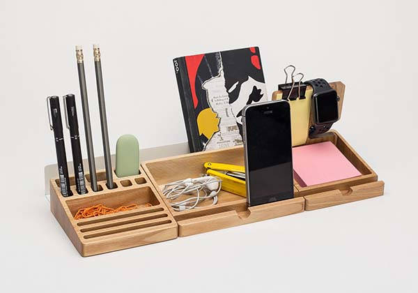 Handmade Wooden Desk Organizer Set with Apple Watch Stand, Phone Holder and More