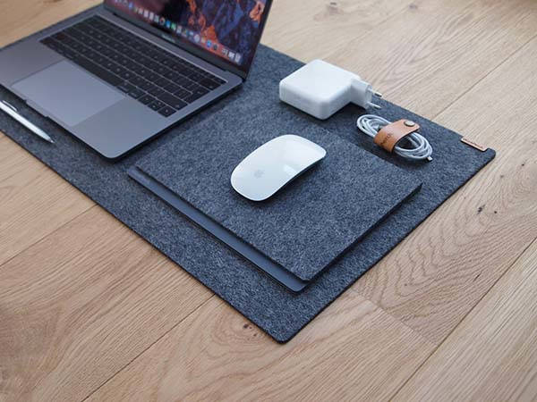 Handmade 100% Wool Felt Desk Mat with Cork Base