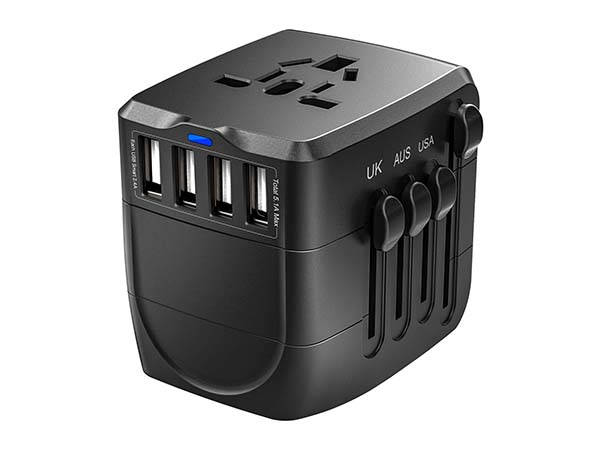The Jarvania Universal Travel Adapter with 4 USB Ports and 4 Outlets