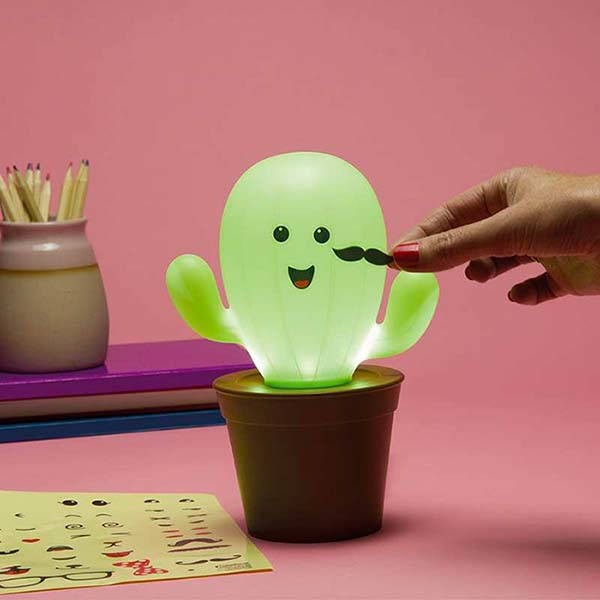Kawaii Cactus LED Mood Lamp with Reusable Stickers