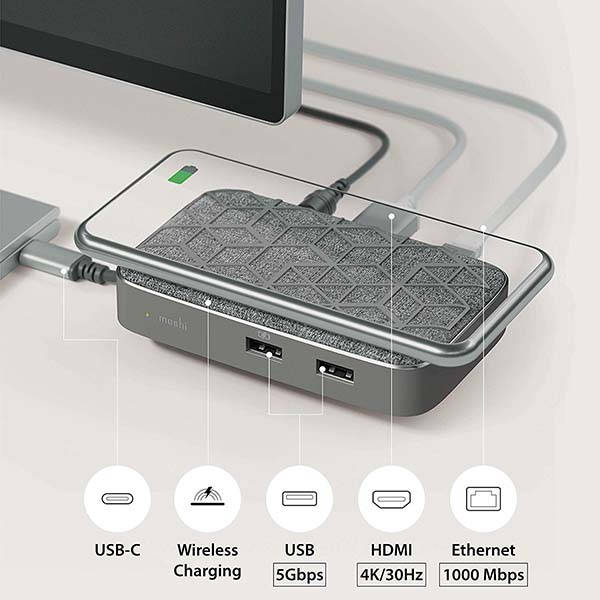 Moshi Symbus Q 6-In-1 USB-C Docking Station with Wireless Charging Pad