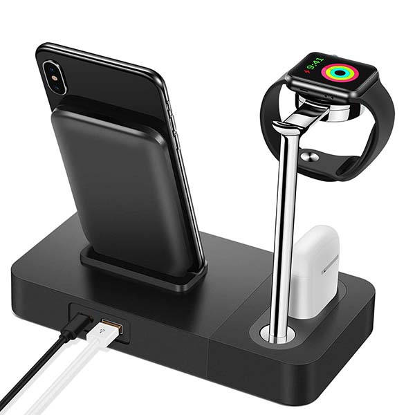 Setrovic 3-In-1 Aluminum Wireless Charging Stand for iPhone, Apple Watch and AirPods