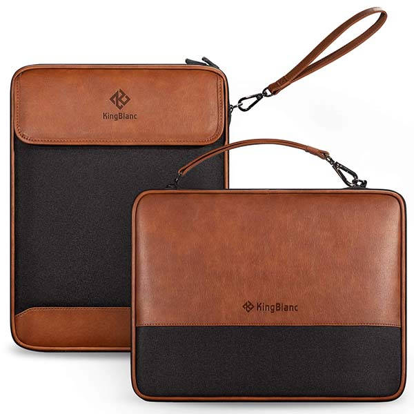 The Two-Layer Leather Accessory Pouch for Mobile Devices, USB Cables and More
