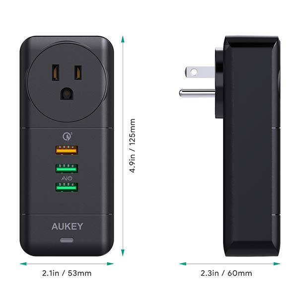 Aukey PA-X07 USB Wall Charger with AC Outlet and Rotatable Plug