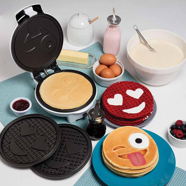 CucinaPro Emoji Waffle and Pancake Maker with Interchangeable Plates