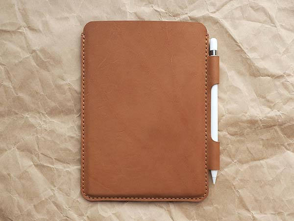Handmade Customizable 7.9-Inch iPad Mini Leather Sleeve with Apple Pencil Holder