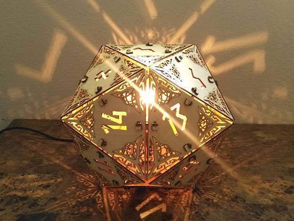 Handmade Dungeon and Dragon D20 Dice Wooden Lamp