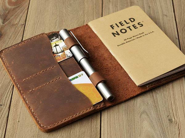 Handmade Pocket Sized Leather Journal Cover with Pen Holder