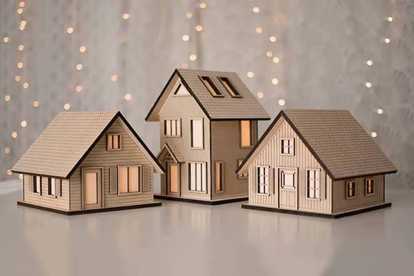 Handmade Wooden Cottage LED Night Light