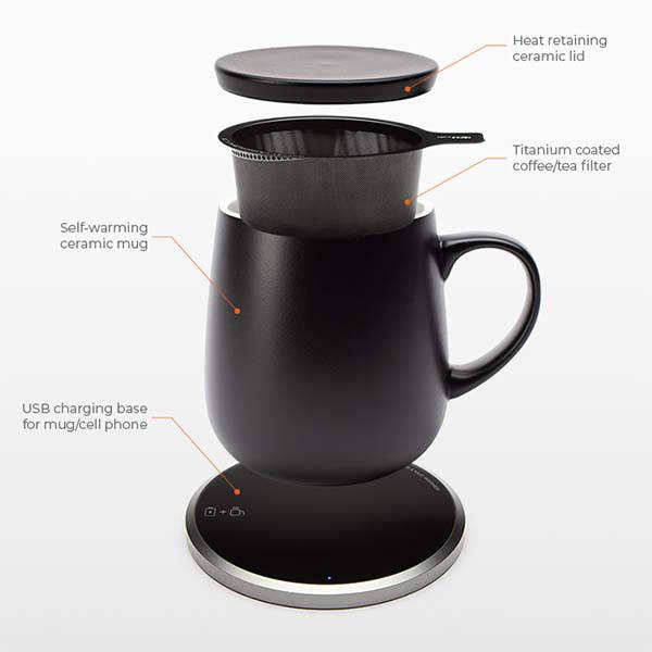 KOPI Self Heating Mug with Wireless Charging Pad
