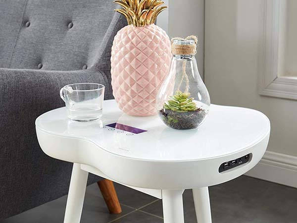MTS 2020 Modern Smart Table with Wireless Charger and Bluetooth Speaker