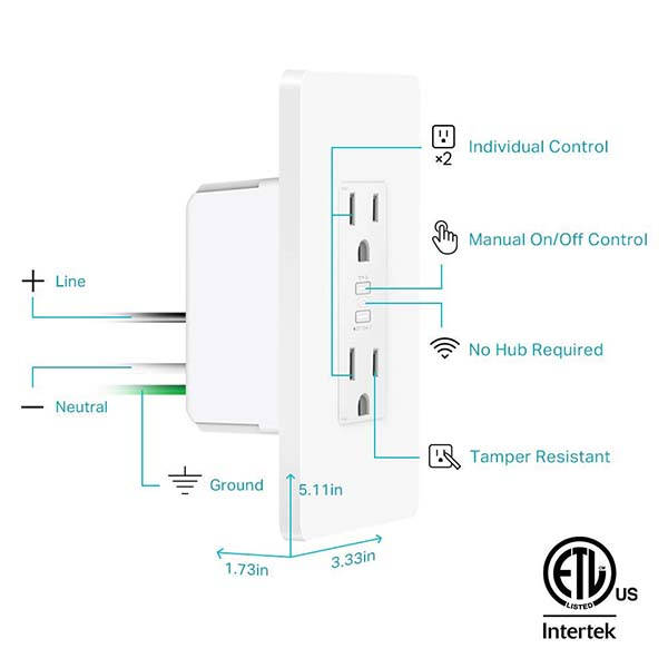 TP-Link Kasa KP200 Smart WiFi Outlet Works with Alexa, Google and Cortana