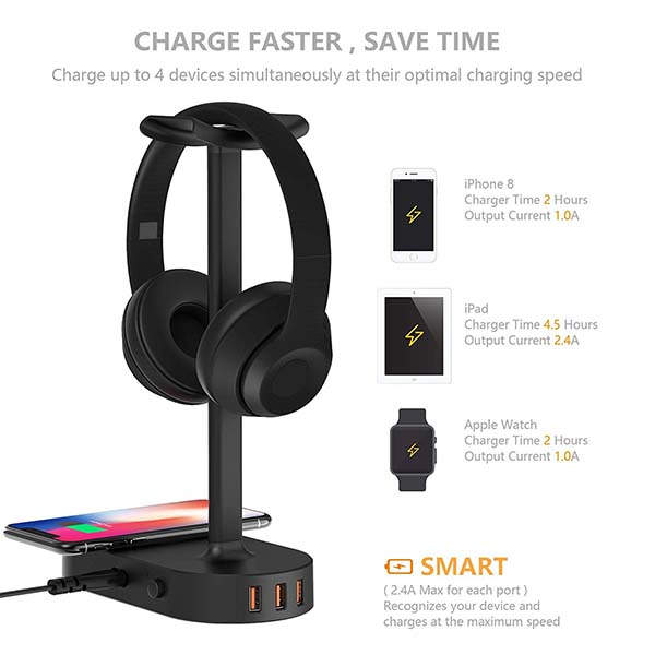 Cozoo Headphone Stand with Wireless Charging Station
