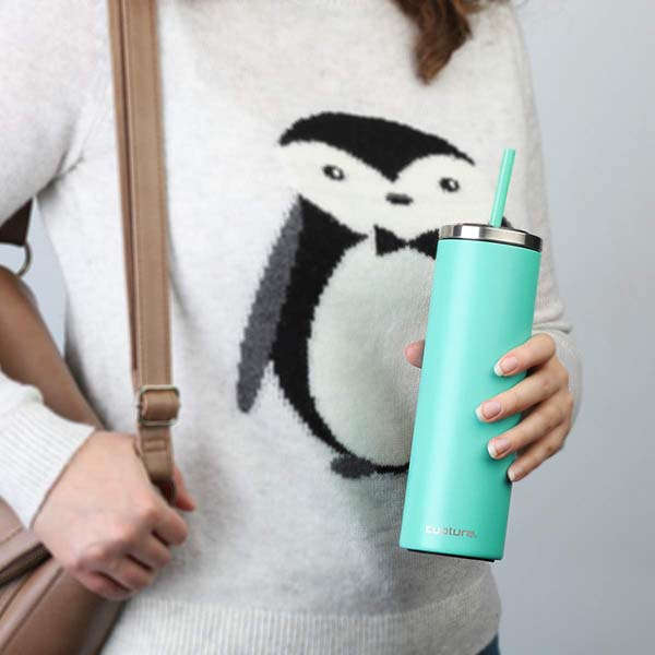 Cupture Stainless Steel Skinny Tumbler with Lid and Reusable Straw