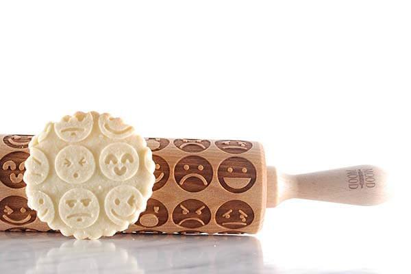 Handmade Emoji Engraved Rolling Pin