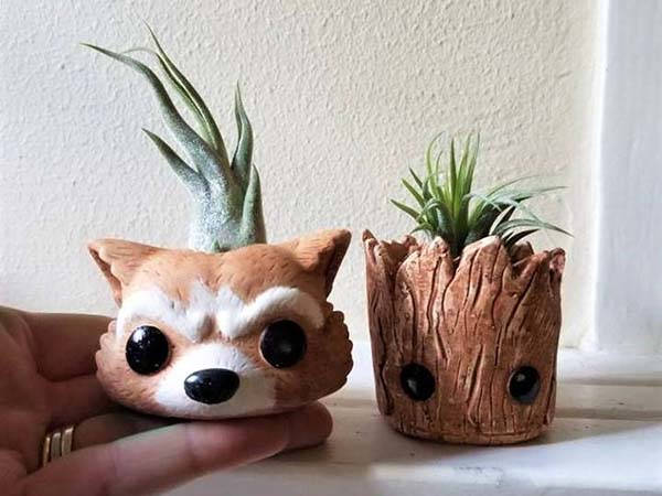 Handmade Groot and Rocket the Raccoon Air Plant Holders