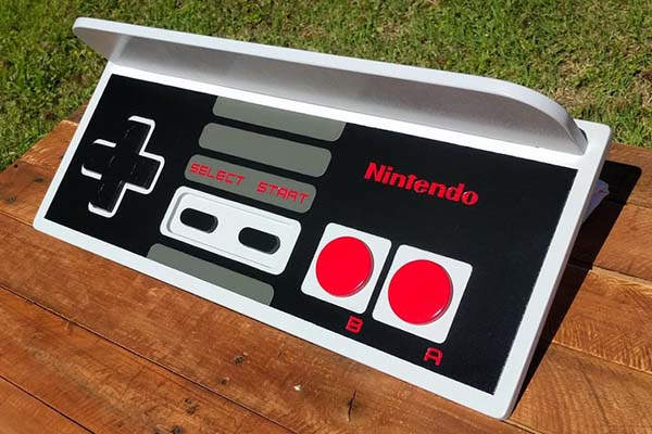 Handmade Nintendo NES Controller Inspired Wall Display Shelf
