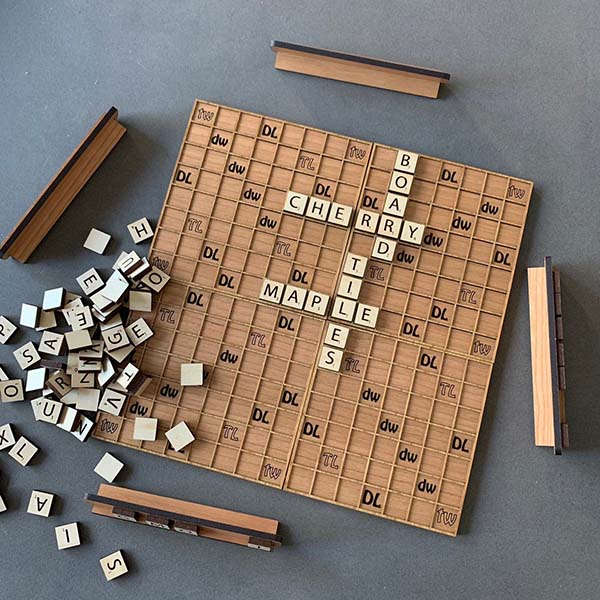 Handmade Travel Wooden Scrabble Board Game Set