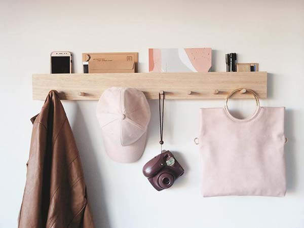 Handmade Wall Mounted Coat Rack with Mail Holder