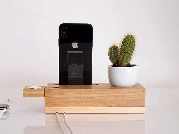 Handmade Wooden iPhone and Apple Watch Dock