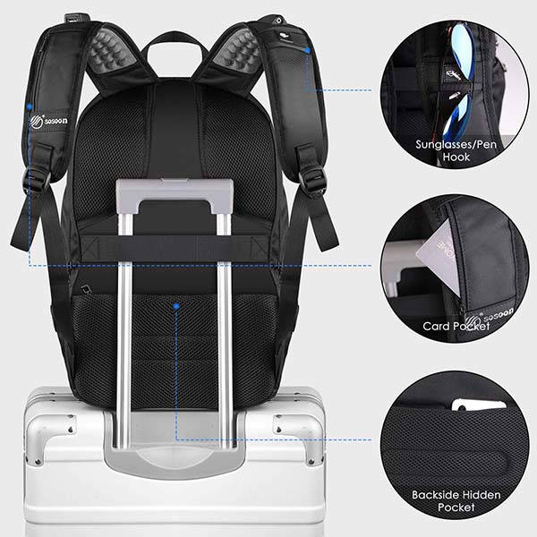 Sosoon Anti-Theft Laptop Backpack with USB and Earphone Port