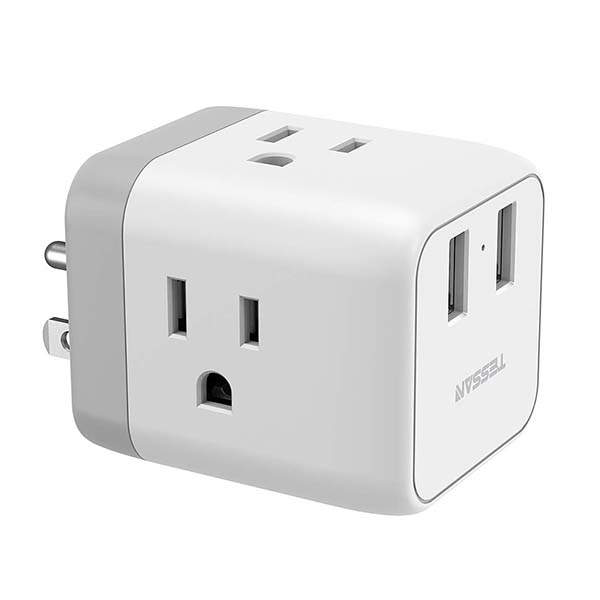 Tessan Dual USB Wall Charger with 3 Outlet Extender