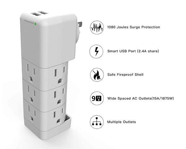 Ahrise Portable Surge Protector with USB Wall Charger