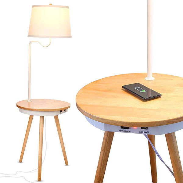 Brightech Owen Wooden Nightstand with LED Lamp, Wireless Charging Pad and More