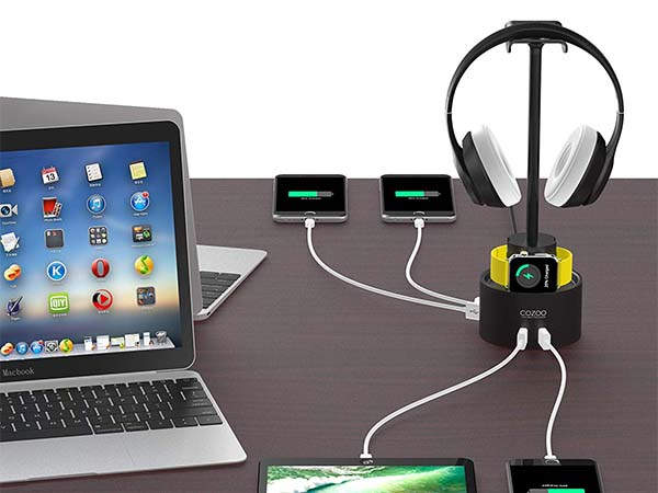 Cozoo Headphone Holder with Charging Station and Apple Watch Dock
