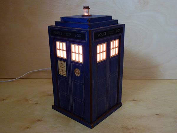 Handmade Doctor Who Tardis Wooden LED Lamp
