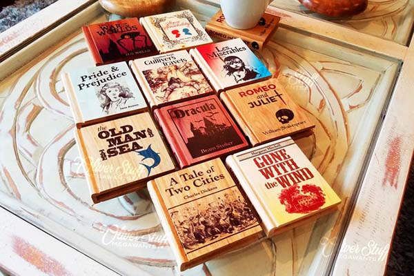 Handmade Full Colored Book-Shaped Wooden Coaster Set
