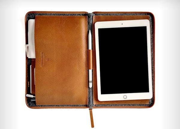 Handmade Leather iPad Carrying Case with Apple Pencil Holder