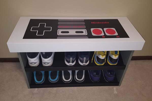 Handmade NES Controller Shoe Bench