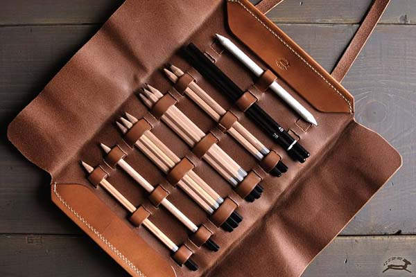 Handmade Personalized Leather Pencil Case Roll