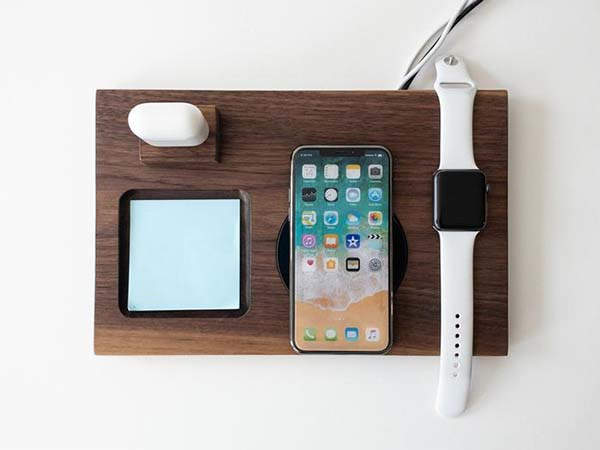 Handmade Wooden Qi Charging Station with Optional Tablet Stand and AirPods Holder