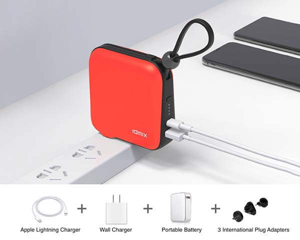 Mr Charger Portable Power Bank with USB Wall Charger and Lightning Cable