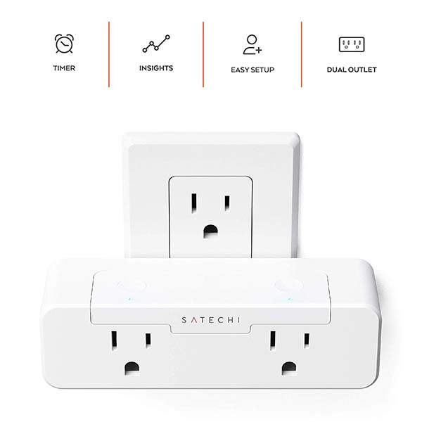 Satechi AppleKit-Enabled Dual Smart Outlet with Real-Time Power Monitoring