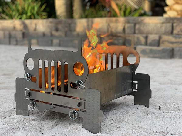The Custom Jeep Fire Pit with Optional Grilling Plate