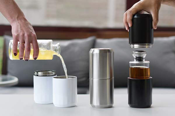 Travel Decanter with Two Stainless Steel Double Wall Tumblers