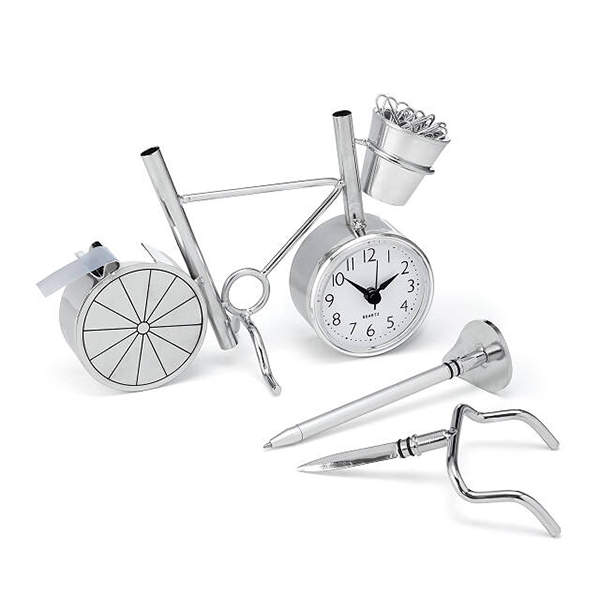 Bicycle Desktop Organizer with Clock, Tape Dispenser and Letter Opener