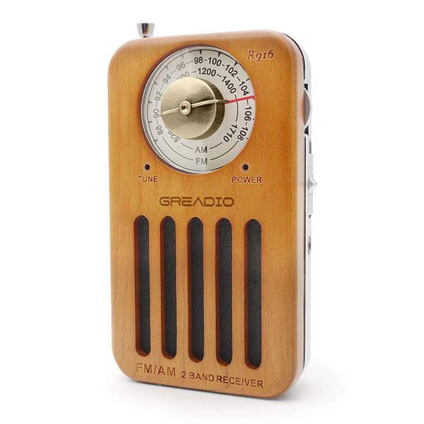 Greadio Retro Wooden Portable AM FM Radio