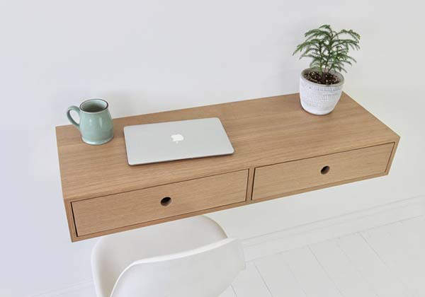 Handmade Floating Desk with Two Drawers