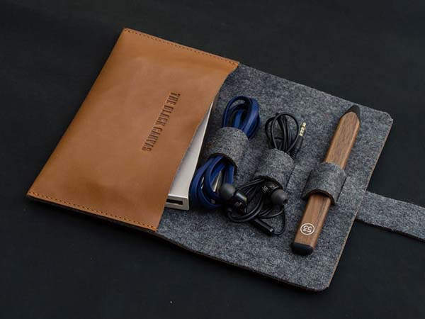 Handmade Leather Travel Cable Organizer