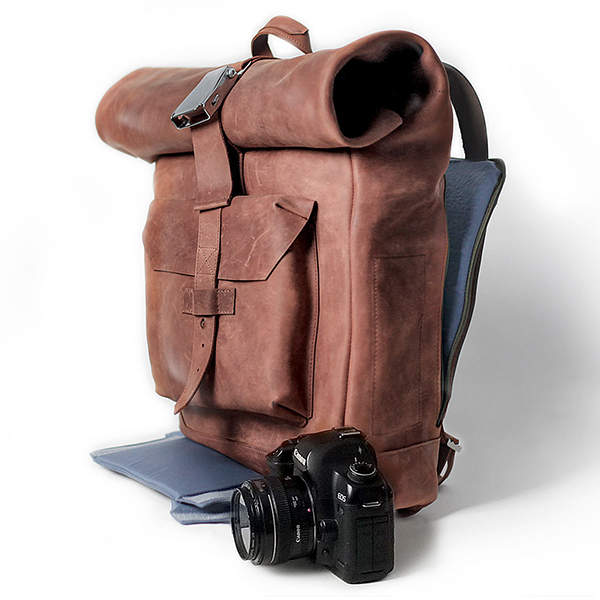 Handmade Personalized Leather Camera Backpack with Removable Insert