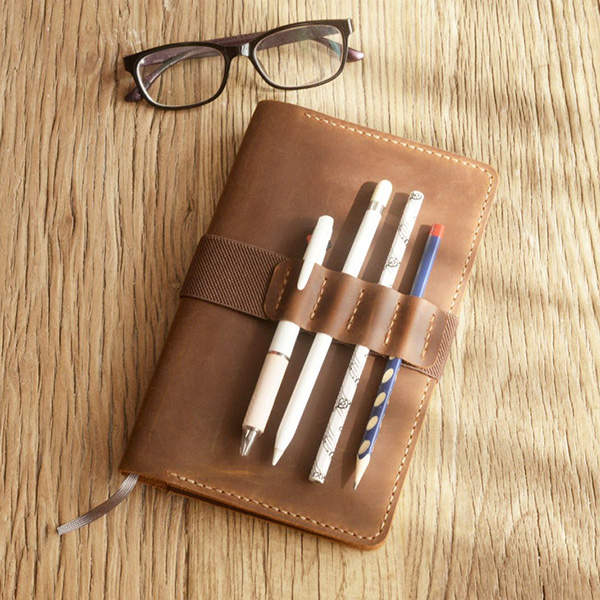 Handmade Personalized Leather Journal Cover with Elastic Pencil Holder
