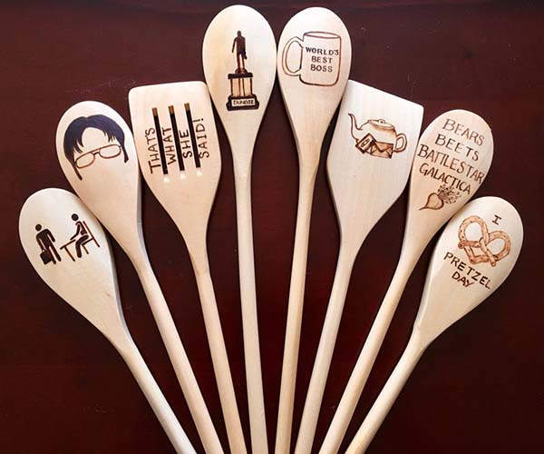 Handmade The Office Inspired Woodburned Spoons