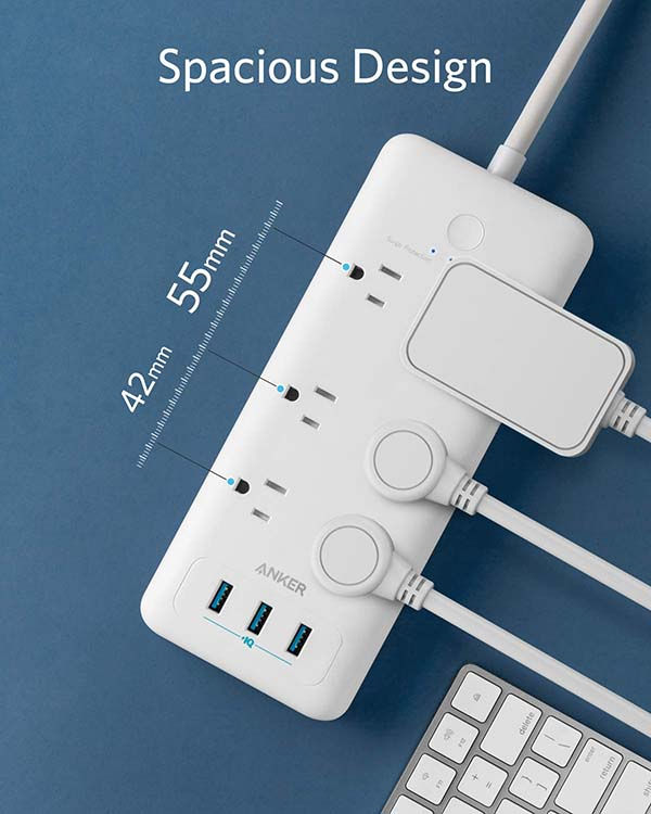 Anker PowerPort Strip 6 Surge Protector with 3 USB Ports