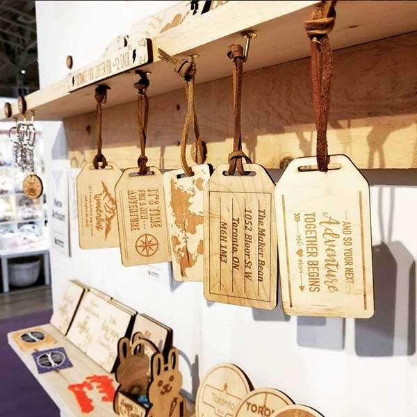 Handmade Personalized Laser Cut Wooden Luggage Tag